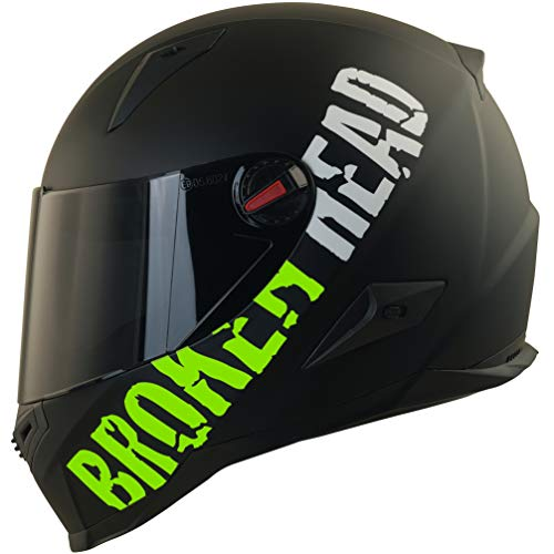 Broken Head BeProud Matt-Schwarz & Grün - Motorradhelm Mit Schwarzem Zusatz-Visier - Größe L (59-60 cm)