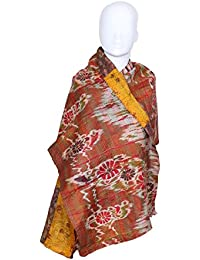 Indiweaves Vintage Silk Hand Quilted Kantha Hand Work Dupattas Reversible Scarves Scarf Patchwork Multicolor(80200... - B0767M3QSS
