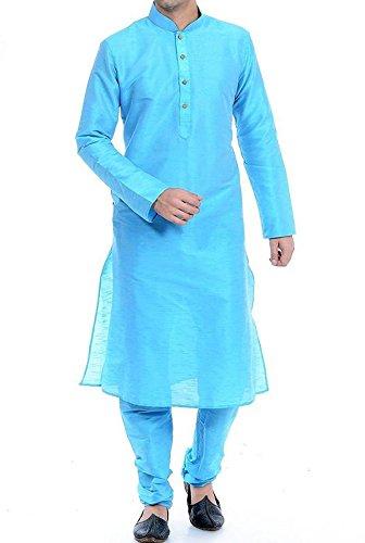 FOCIL Sky Blue Silk Kurta Pyjama Set for Men's