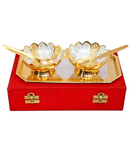 Odishabazaar Gold & Silver Plated Floral Bowls and Spoon with Octagan Tray by Odishabazaar -