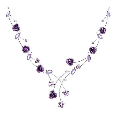 Glamorousky Elegante Rosafarbene Halskette Mit Lila Austrian Elements -Kristallen Und
