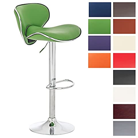 CLP Bar Stool LAS VEGAS, swivel, metal frame in chrome look, height adjustable 60 - 82 cm, choose from up to 11 colours green