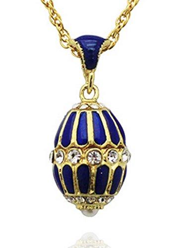 63b5c9aae9 Pendentif Oeufs Style Fabergé Bleu Saphir avec 31 Cristaux et sa chaîne OE15