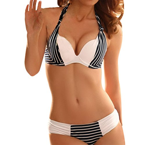 Neckholder Badeanzug,Loveso Damen bikini sexy Streifen rayures Bikini Push Up Triangel Brasilianische Bademode große größen Taillierte Badeanzug Split Set (M, Blau) (Neckholder-tankini-top Ring)