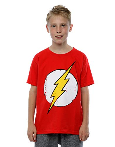 DC Comics Jungen Flash Distressed Logo T-Shirt 12-13 years Rot (Das Kind Flash Kostüm)