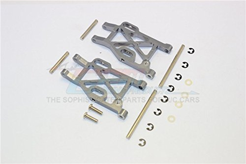 Kyosho Mini Inferno Tuning Teile Aluminium Rear Lower Arm With E-Clips & Pins & Delrin Collars - 1Pr Set Grey Silver - Eclip-pin