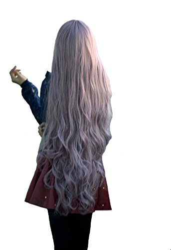 "Quibine 100cm/39"" Long Anime Curly Cosplay Full Wigs Japanese Lolita/Harajuku Style Party Hair, Silver Grey"