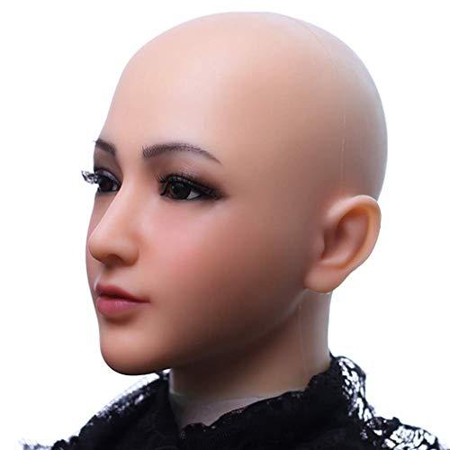 Stretch Kostüm Göttin - BXPDD Cosplay handgemachte weibliche Maske, echte Silikon weiblichen Kopfschmuck, Halloween Kostüm Maskerade denaturiert Kopfbedeckungen,ivorywhite