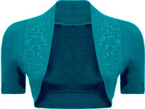 Damen Bolero Cardian Kurzarm Übergröße Gr. 36-54 Türkis - Blaugrün