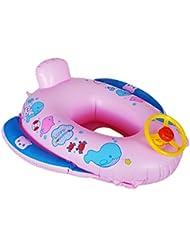 cadillaps asiento flotador para bebé 1–3años en forma de coche de policía y delfín Rosa rosa Talla:65*60cm
