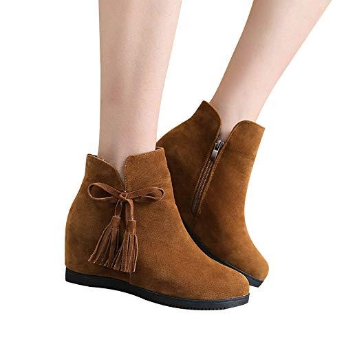 Stiefel Damen Martain Stiefel Leder Boots Stiefeletten Frauen Runde Kappe Reißverschluss Schuhe Freizeitschuhe ABsoar