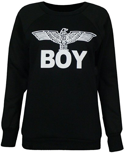 LONDON DAMEN BOY EAGLE PRINT T SHIRT- VEST- PULLOVER, GRÖSSE 34-40 - BLACK SWEATSHIRT