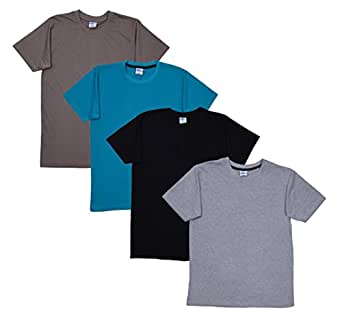Fleximaa Men's Cotton Round Neck T-Shirt Grey Milange, Black, Shade Green & Steel Grey Colors (Pack of 4).(rgrey-blk-sgreen-sgrey-s)