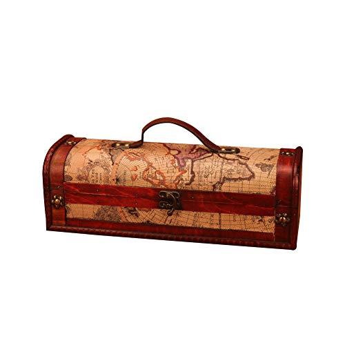Weinkiste für 1 Flasche, Holz, Vintage-Stil, mit Griff, Holz und Kunstleder, Antik-Finish -