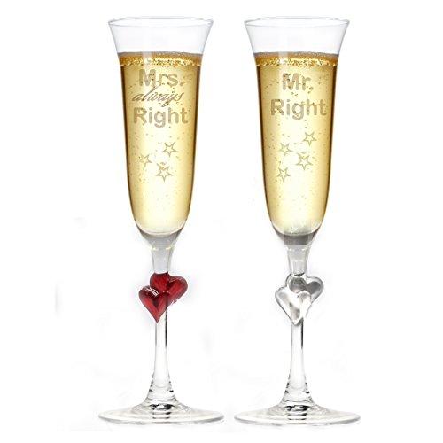 Herz Sektgläser mit Gravur Mr. Right und Mrs. Always Right + Herz im Stiel + Valentinstag Geschenk + Liebe + Hochzeit + Hochzeitstag - Mr. & Mrs. Right