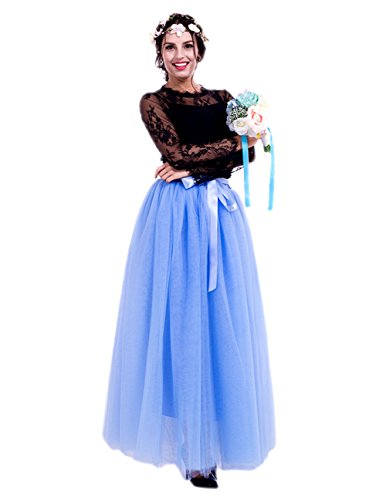 Honeystore Damen's Tüllrock Lang 5 Layer Prinzessin Kleider Lang Petticoat Ballettrock Maxi Unterrock Pettiskirt Lang One Size (Für Popstar Barbie Kinder Kostüm)