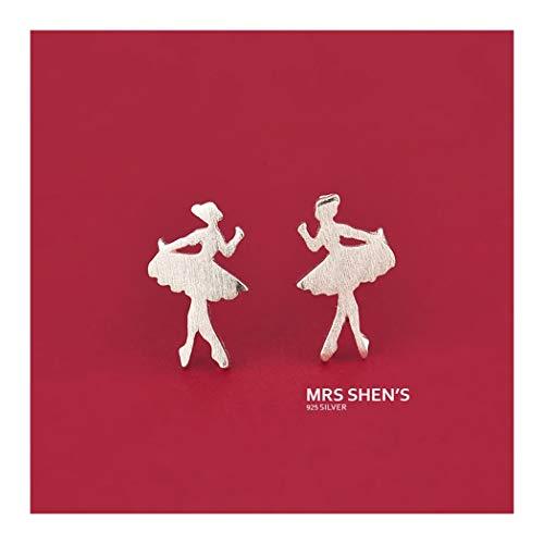YOYOYAYA 925 Silber pin Ohrringe Damen Schmuck Ballett tanzen Mädchen Valentinstag süß wiredrawing Mini Cute Datum