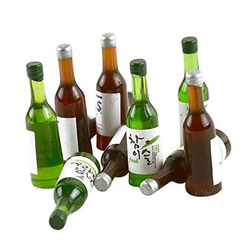 sharprepublic 10 Stücke Glas-Flaschen Mini Miniatur Fläschchen Kleines Bier-Fläschchen Puppenhaus Zubehör -