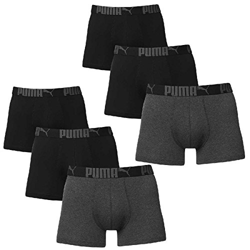 6 er Pack Puma Boxer Boxershorts Men Pant Unterwäsche Catbrand PROMO, Farbe:223 - Black/Anthracite;Bekleidungsgröße:L