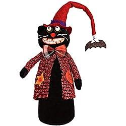 Xuniu Juguete de Peluche de Halloween Gato Negro de pie Decoración de la Ventana de Escritorio Adorno 40x6cm