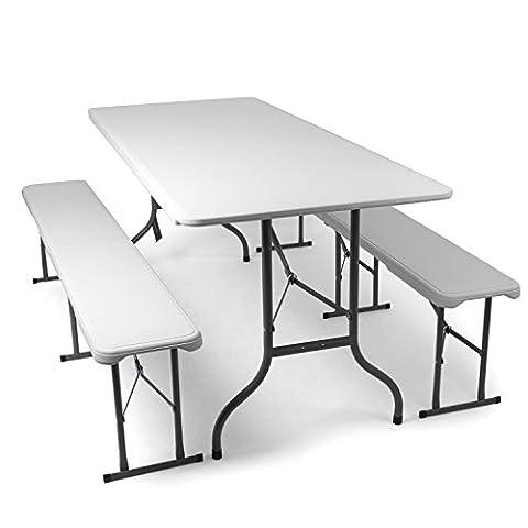 L'ensemble de mobilier de jardin, bancs et table brasserie en blanc pliables - Table et bancs en plastique - le lot comprend : 2x bancs de brasserie et 1x table de brasserie, par Park Alley