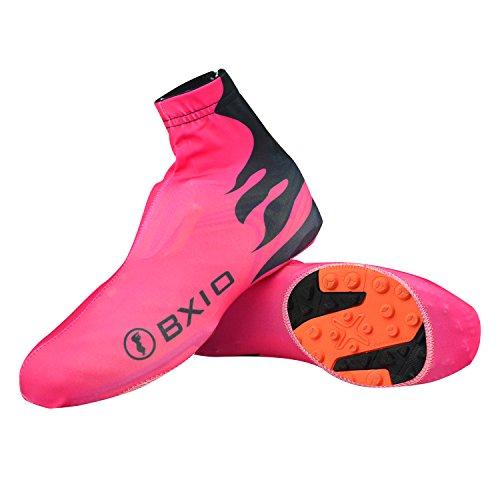 BXIO Copriscarpe Ciclismo Lycra, Riutilizzabile Resistente all'Usura Antiscivolo Copriscarpe per Biciclette, All'aperto Sport, MTB, Equitazione, Rosso
