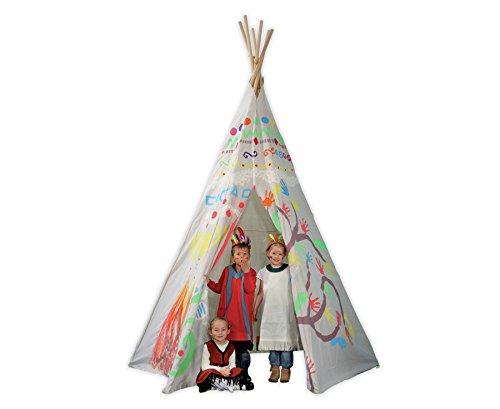Eduplay-XXL-Indianerzelt-Spielzelt-Tipi-schn-gro-schwer-entflammbar-wasserfest-blanko-zum-Selbstgestalten-Kinderspielzelt-Kinder-Garten-Indianer-Zelt
