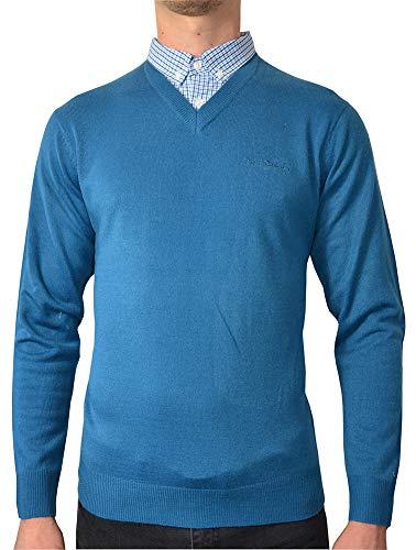Pierre Cardin Jahreszeit V-Ausschnitt und Rundhalsausschnitt-Pullover mit Hemdkragen Mock Hemd Einsatz (XL, Petrol)