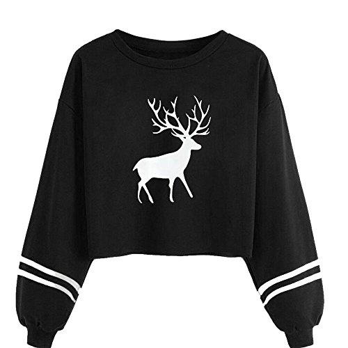 6c38f6015 LILICAT Womens Christmas Elk Sweatshirt, Christmas Elk Hoodie Women Casual  Long Sleeve O Neck Deer Print Sweatshirt Short Pullover Tops Blouse Autumn  Winter ...