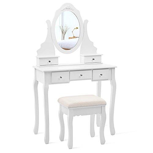 SONGMICS Coiffeuse, Table de Maquillage, avec 1 Miroir pivotant, 5 tiroirs et...