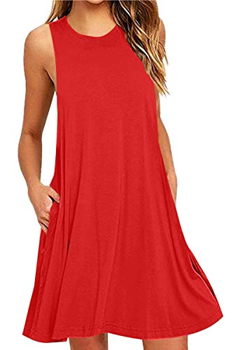 OMZIN Damen Langes Shirt mit Taschen Lockeres Minikleid Einfärbig Casual Vestkleid Rot S (Flowy Kleid Mit ärmeln)