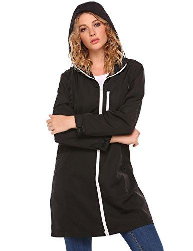Coorun giacca di pioggia casuale del cappotto del manicotto lunga con cappuccio casuale delle nuove donne Nero