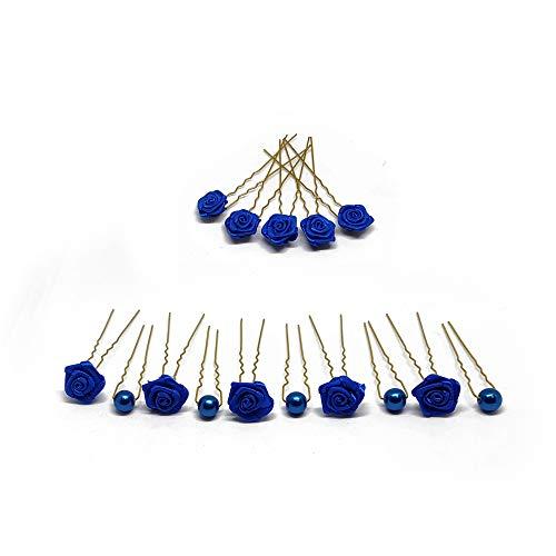 15tlg. Braut - Haarschmuck Set - Brauthaarschmuck | Set-3-G - Blau