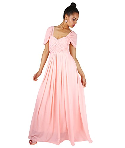 KRISP Damen Elegante Maxi Kleider Bodenlang Festkleider Chic Abschlusskleid Rosa (4815)