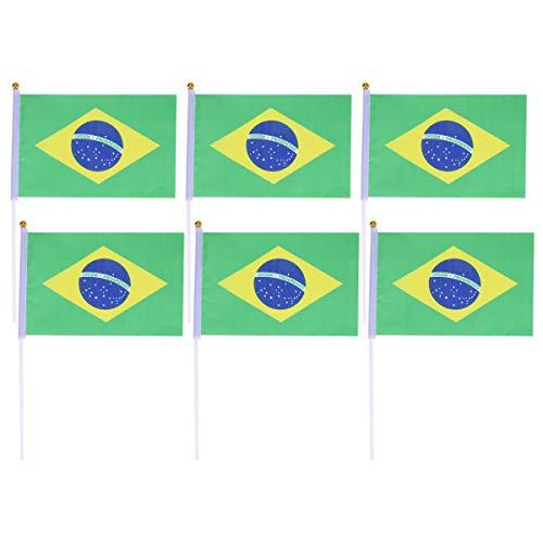 STOBOK Brasilien Stick Flagge Hand Kleine Welt Nationalflaggen Party Dekoration 50 Stücke
