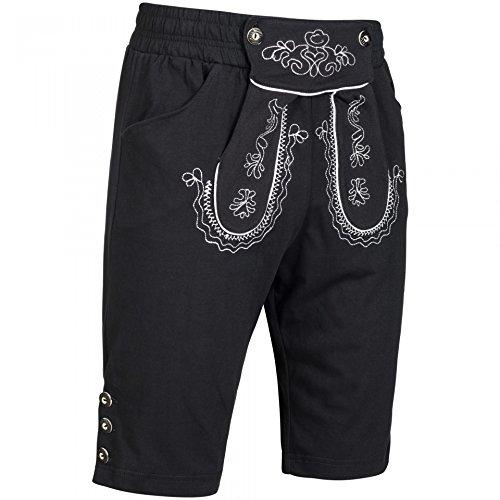 PAULGOS Herren Kurze Jogginghose Optik Trachten Lederhose bestickt in 3 Farben Gr. 44-60, Farbe:Schwarz, Größe Lederhose:60