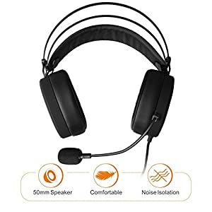 Gaming headsets PS4, NUBWO N7 Stereo Xbox one headset Wired PC Gaming Headphone with Noise Canceling Mic, Over Ear Gaming Headphone for PC/MAC/PS4/Xbox 1/Nintendo Switch/Mobile-Black