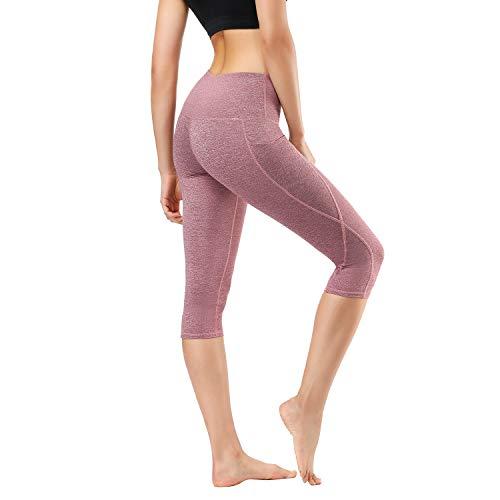 HMIYA Damen Fitness Shorts Sport Leggings Yoga Sporthose Kurze Yogahose Workout Tights Hohe Taille mit Taschen(Grau Lila,L) -