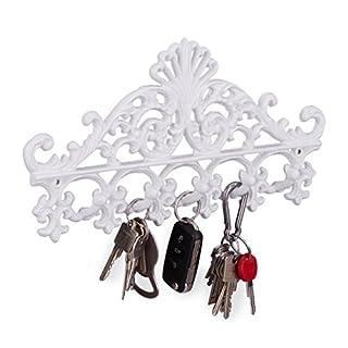 Relaxdays Garderobenleiste aus Gusseisen, 5 Haken, Antiker Landhausstil, HBT: ca. 17 x 35 x 3,5 cm, Hakenleiste, weiß