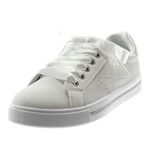 Angkorly Damen Schuhe Sneaker - Tennis - Sporty Chic - Schnürsenkel Aus  Satin - Glitzer - d74226a5a4