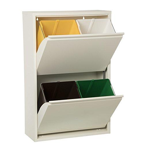 DONREGALOWEB Papelera Reciclaje 4 Cubos Blanco Mate-4x18l