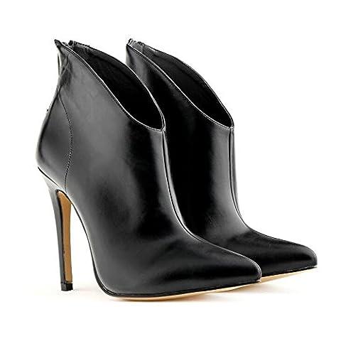 L@YC Women'S High Heels Spitzen Kurze Stiefel Mit Feinen Spitzen Stiefeln , black , 41 (Black Satin High Heel Pumps)