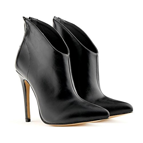 Tacchi alti donna punta stivali corti con stivali a punta fine , black , 37