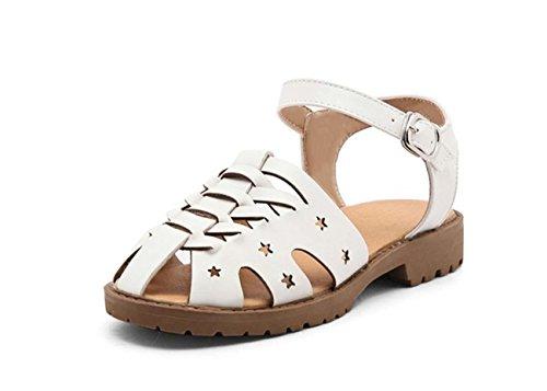 NobS Tissé Sandales Boucle Creuse De Grande Taille 40-43 Flats Toe Boucle De La Cheville Femmes Chaussures White