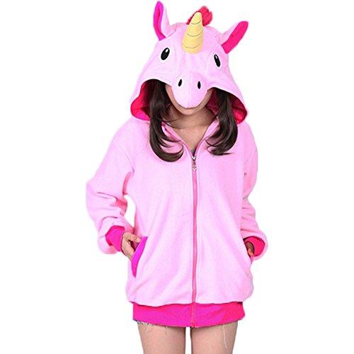 Jacke Rosa Kostüm Kind - Damen Kapuzenpullover Einhorn Jacke Mädchen Unicorn Hoodie mit Reißverschluss Cosplay Tier Party Kostüm