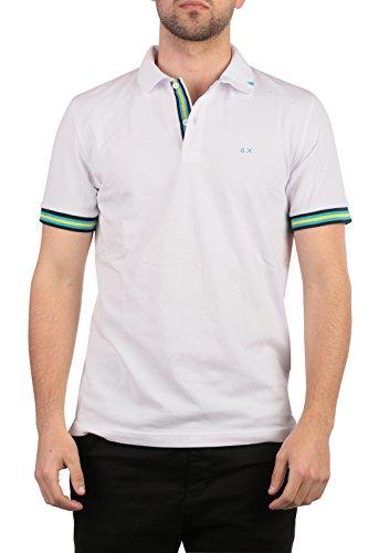 SUN68 Uomo Polo Maglia T-Shirt Primavera Estate Bianco Art 16108 01 P16