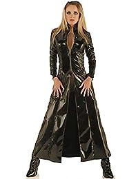mujeres de Nueva manera kühle Negra Larga de PVC de piel abrigo cortavientos