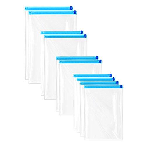 Alxcio Vakuumbeutel Reise 10er Aufbewahrungsbeutel Kompressionsbeutel für Kleidung Vakuum-Beutel Kleidung Staubsauger zum Rollen per Hand, Groß, Mittel, Wenig