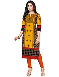 Ishin Cambric Cotton Yellow Printed Party Wear Wedding Wear Casual Daily Wear Office Wear Festive Wear New Collection...