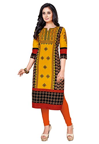 Ishin Cambric Cotton Yellow Printed Party Wear Wedding Wear Casual Daily Wear Office Wear Festive Wear New Collection Latest Design Trendy Women\'s Unstitched Kurti/Kurta Fabric (Only Kurta/Top Fabric